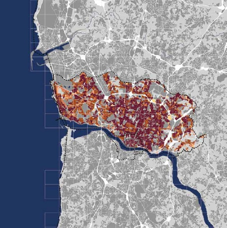 9% continuous urban fabric </br> 9% construction sites or land without current use</br> 4% discontinuous dense urban fabric</br> 7% discontinuous dense urban fabric</br> 1% discontinuous lowly dense urban fabric